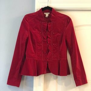 NWOT - WHBM - Red, Faux-Suede Jacket with Peplum